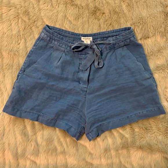 Artisan NY high waisted tie front blue shorts